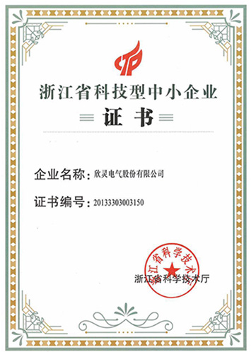 Xinling Electric Zhejiang Science and Technology Small and Medium-sized Enterprises Certificate